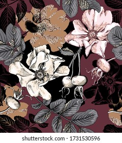 Seamless wallpaper pattern. White Gold glitter Dog-rose flowers, leaves and berries on a burgundy background. Textile composition, hand drawn style print. Vector illustration.