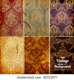 Seamless wallpaper set for vector retro background