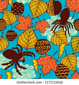 Seamless wallpaper with spiders and autumn leaves. Vector illustration for halloween decoration.