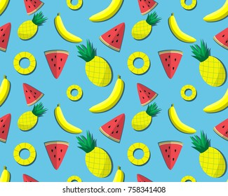 Seamless wallpaper in summer tropical fruits style - watermelon, pine apple and banana- for frabic printing, wallpaper, background and backdrop