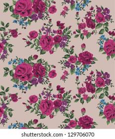 seamless wallpaper vintage folk flower rose pattern background