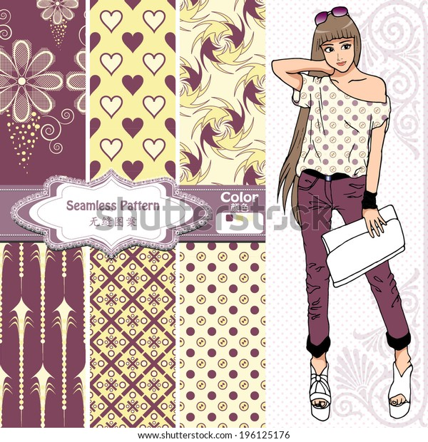 Seamless wallpaper ,wrapper ,fabric pattern design,nice fashion girl design .The chinese words meaning same as english words.
