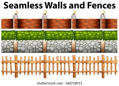 Seamless walls and fences in many designs illustration