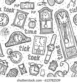 Seamless watches background. Vector time symbols. Hand-drawn illustration.