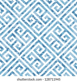 Seamless Water Themed Greek Key Background Pattern