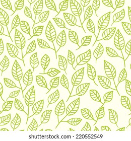 Seamless watercolor background of green leaves. Vector floral pattern.