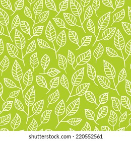 Seamless watercolor background of green leaves.Pattern composed of tea leaves. Vector pattern.