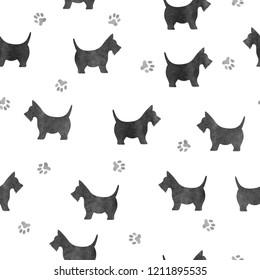 Seamless watercolor black dog pattern.