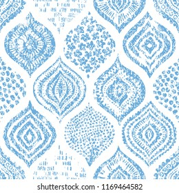 Seamless watercolor blue-white pattern. Elegant ornament for textile. Vintage bohemian print. Vector illustration.