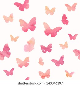 Seamless watercolor butterfly pattern. Vector illustration