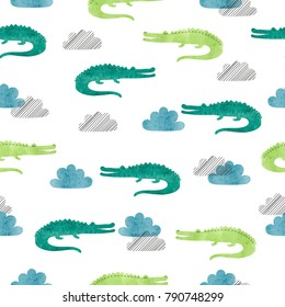 Seamless watercolor crocodile pattern. Vector background with alligators and clouds.