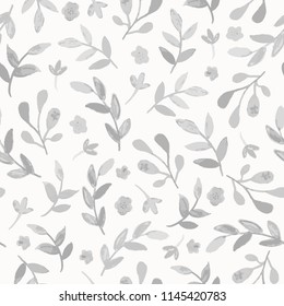 Seamless watercolor floral pattern with branches and leabes. Subtle monochrome hand drawn vector background.