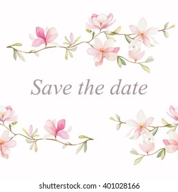 Seamless watercolor floral pattern on a white background with text