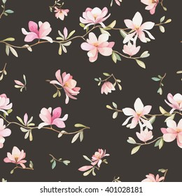 Seamless watercolor floral pattern on a black background