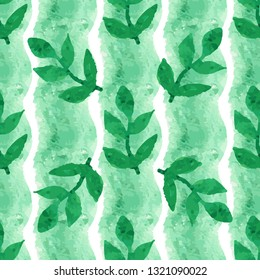 Seamless watercolor green leaf on striped pattern. Seamless floral pattern of stripes watercolor texture with green line.