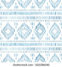Seamless watercolor pattern. Blue geometric elements on a white background. Handmade. Ethnic geometric ornament, tribal style, aztec wallpaper, bohemian native print. Uneven edges. Vector illustration