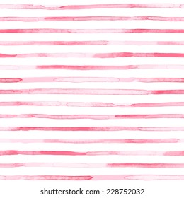 Seamless watercolor pattern. Pink stripes. Vector illustration