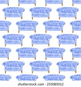 Seamless watercolor pattern with sofa on the white background, aquarelle. Vector illustration. Hand-drawn original background. Useful for invitations, scrapbooking, design. Home and furniture