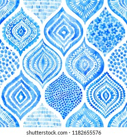 Seamless watercolor pattern. Vintage blue and white ornament. Textile print hand-drawn. Vector illustration.
