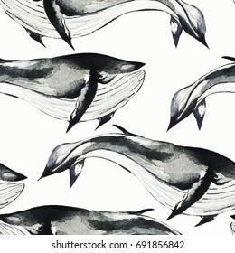Seamless watercolor pattern with whales. Vector seamless background. Watercolor illustration.