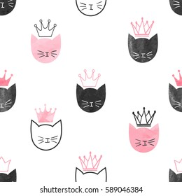 Seamless watercolor princess cats pattern. Vector background for kids design.
