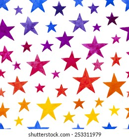 Seamless watercolor rainbow star pattern. Hand drawn vector illustration.