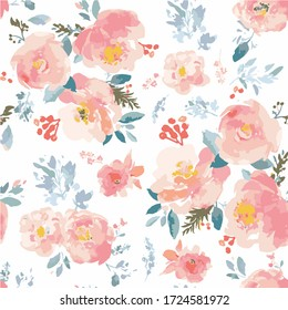 Seamless watercolor romantic floral pattern on a white background. Vector format. White Background.