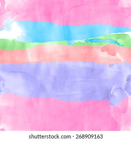 Seamless watercolor rows pattern for background. Vector illustration.