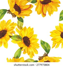 Seamless watercolour sunflowers pattern, scalable vector graphic
