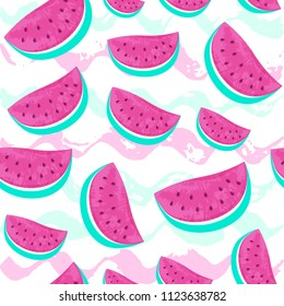 Seamless Watermelon Pattern isolated on hand drawn brush background. Fresh fruits seasonal background flat style. Vector illustration eps 10 file