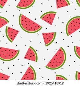 Seamless watermelons pattern. Vector background. Flat design.