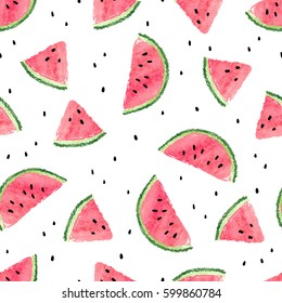 Seamless watermelons pattern. Vector background with watercolor watermelon slices.