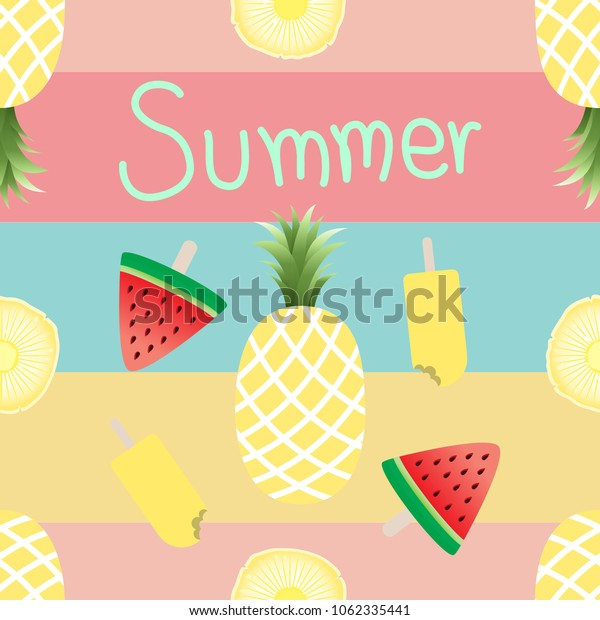 Seamless watermelons,ice cream and pineapple pattern in summer.