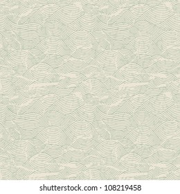 Seamless wave hand drawn pattern. Abstract vintage background.