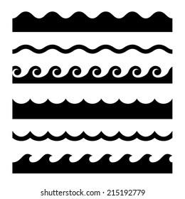 Seamless Wave Pattern Set. Vector Template Illustration