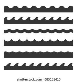Seamless Wave Pattern Set. Vector Template