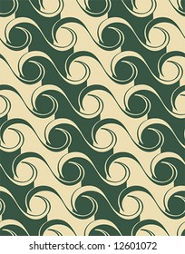 Seamless waves pattern in two colors. Asian style.