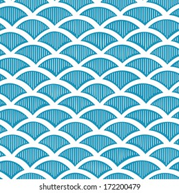 Seamless waves pattern. Vector hand drown illustration