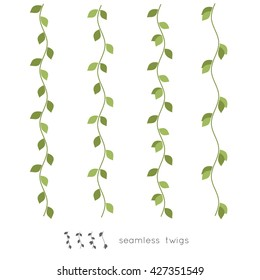 Seamless wavy twigs with leaves. Simple leaves border. Isolated vector illustration.