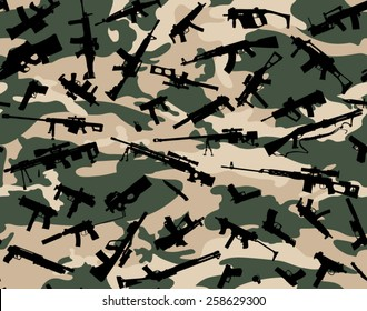 SEAMLESS WEAPON CAMOUFLAGE PATTERN, VECTOR IMAGE