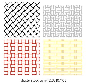 Seamless weave rattan pattern in silhouette vector