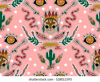 Seamless western pattern. Set of stickers, pins, patches and handwritten notes collection in cartoon. Cat,cactus, arrow, eye and other.  Vector illustration
