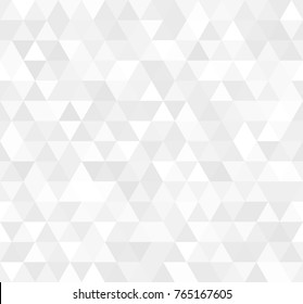 Seamless white abstract pattern. Geometric print composed of triangles and polygons. Background.