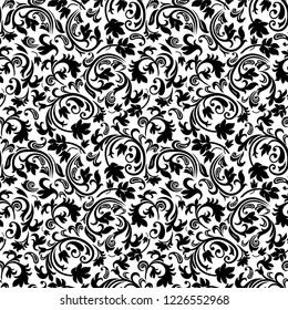 Seamless white background with black pattern in baroque style. Vector retro illustration. Ideal for printing on fabric or paper for wallpapers, textile, wrapping.
