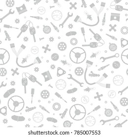 Seamless white background with gray linear icons of car parts and elements.