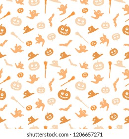 Seamless white background with a Halloween theme. The background shows a pumpkin, a broom, a witch's cap, a ghost and a bat.