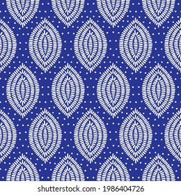 Seamless white and blue shweshwe pattern. Print for dresses, packaging. Vector illustration.
