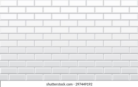 Seamless white brick wall pattern vector wallpaper