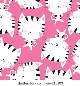 seamless white cat pattern vector illustration