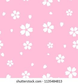 seamless white cherry blossom(Sakura) on pink background, vector and illustration